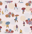 people in rain autumn vector image