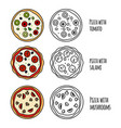 pizza menu icons vector image vector image