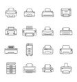 printer office copy document icons set outline vector image