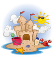 sand castle beach cartoon scene vector image