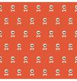 seamless halloween skull pattern with bones over vector image