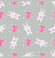seamless pattern funny cartoon white rabbit with vector image