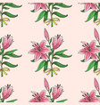 seamless pattern with hand drawn lily bouquet vector image vector image