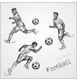 set football players in different poses vector image vector image