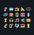 set of line icons of communications vector image
