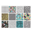 set of seamless patterns in 80s-90s memphis style vector image vector image