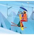 Sportsmen climb the mountain on aerial lift vector image vector image