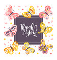 thank you card template with cute beautiful vector image