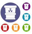 trashcan containing radioactive waste icons set vector image vector image