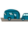 travel in a house on wheels blue retro car with vector image vector image