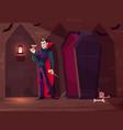 vampire drinking blood cartoon concept vector image