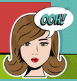 face cute girl bubble speech pop art vector image
