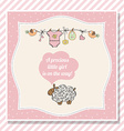 baby girl shower card with little sheep vector image