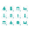 stylized different kind of building and city icons vector image