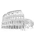 Drawing Roman Colosseum vector image