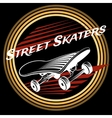 Skateboard in circle logo design vector image
