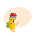 Yellow cartoon pencil with backpack winking and vector image