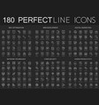 180 modern thin line icons set on dark black vector image vector image