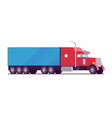 american rig big truck red color with a blue vector image vector image