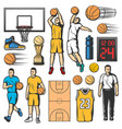 basketball game icons players and sport items vector image vector image