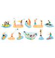 beach activities summertime people hob vector image vector image