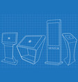 blueprint of four promotional interactive kiosk vector image vector image