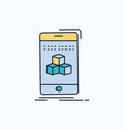 box 3d cube smartphone product flat icon green vector image