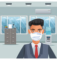 businessman working and wearing medical mask vector image vector image
