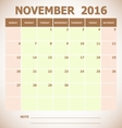 Calendar November 2016 week starts Sunday vector image vector image