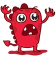 Cartoon funny red monster T-shirt design vector image
