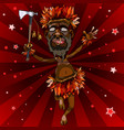 cartoon man dances in an aboriginal costume with vector image vector image