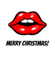 christmas woman lips in pop art style vector image vector image