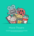cinema doodle icons background vector image vector image