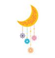 colorful moon and flowers vector image