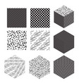 cube shapes with patterns set vector image vector image