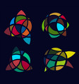cubism art picture logos set colorful stained vector image vector image