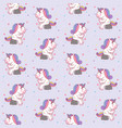 cute cartoon unicorn sitting on stone like a vector image vector image
