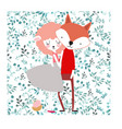 cute lover fox and lamb on spring flower seamless vector image vector image