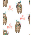cute pattern with tribal bear vector image vector image