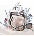 elegant fashion with stylish female bag vector image
