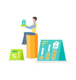 employee and dwelling money and house vector image vector image