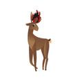flat cute christmas hat reindeer character vector image vector image