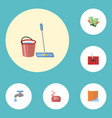 flat icons carpet vacuuming gauntlet mopping and vector image vector image