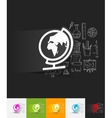 globe paper sticker with hand drawn elements vector image