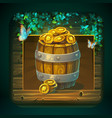 icon barrel with gold coins for game user vector image vector image