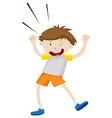 Little boy winking and dancing vector image vector image