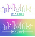 madrid skyline colorful linear style vector image vector image
