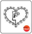 Metallic lock in form of heart vector image