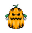 monster big yellow pumpkin with angry vector image vector image
