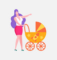 mother with bain stroller flat cartoon banner vector image vector image